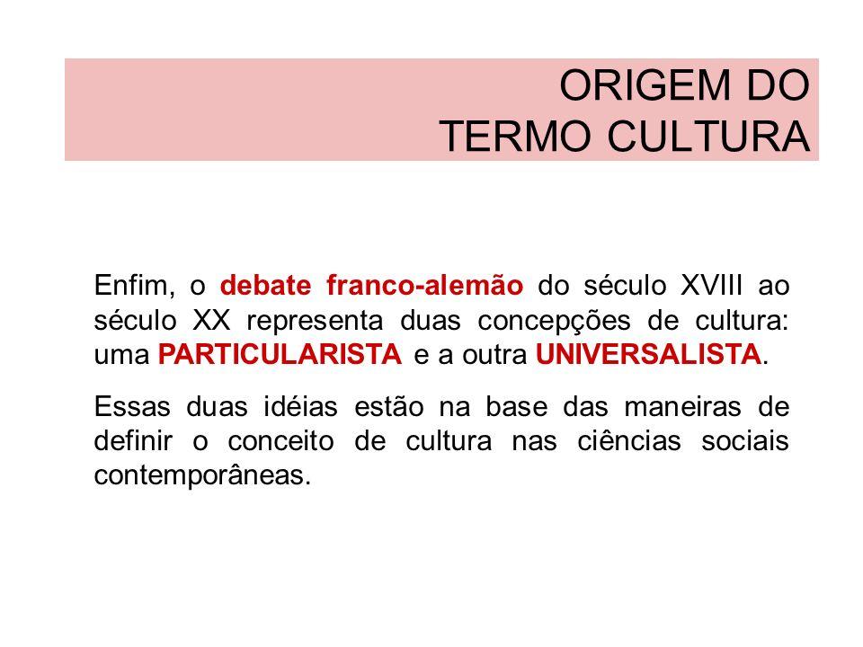 ORIGEM DO TERMO CULTURA