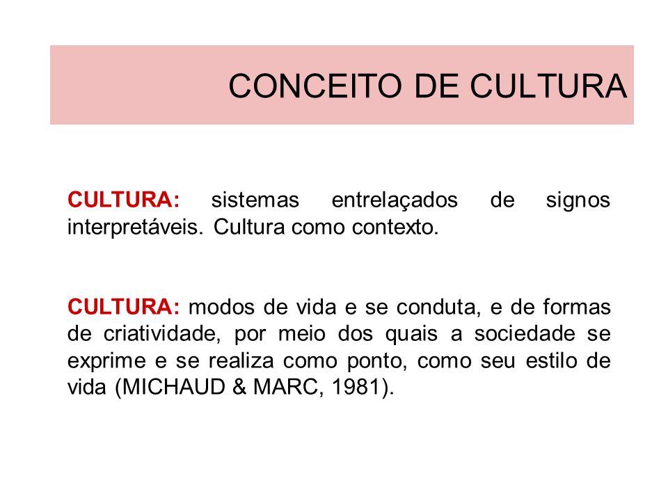 CONCEITO DE CULTURA CULTURA: sistemas entrelaçados de signos interpretáveis. Cultura como contexto.