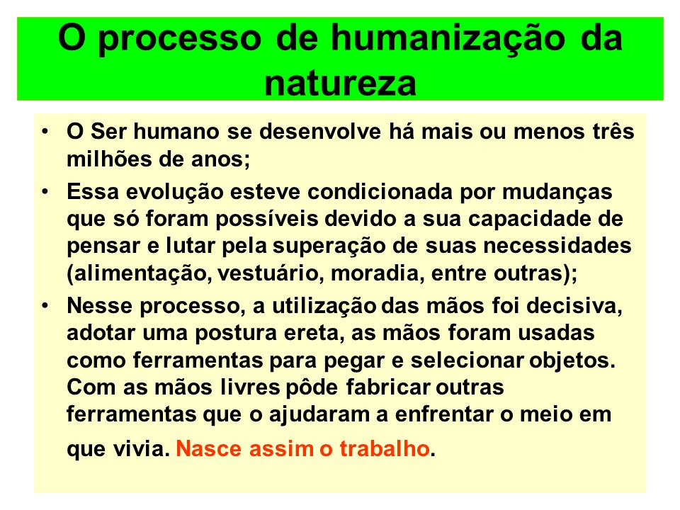O processo de humanização da natureza