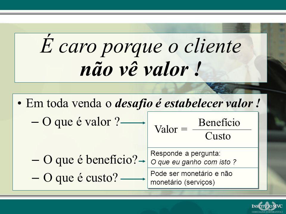 É caro porque o cliente não vê valor !