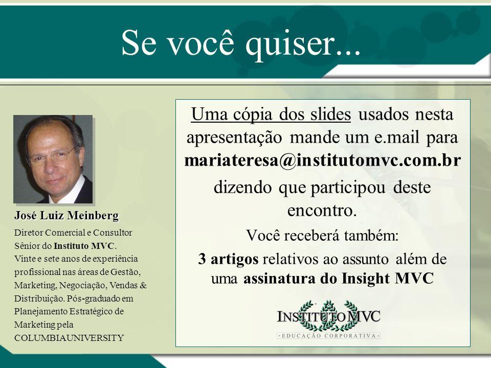 Se você quiser... Uma cópia dos slides usados nesta apresentação mande um e.mail para mariateresa@institutomvc.com.br.