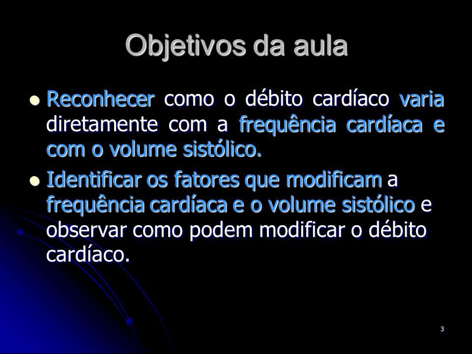 Objetivos da aula Reconhecer como o débito cardíaco varia diretamente com a frequência cardíaca e com o volume sistólico.