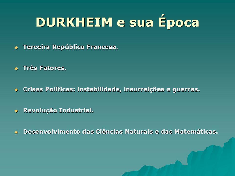 DURKHEIM e sua Época Terceira República Francesa. Três Fatores.