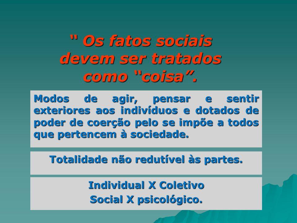 Os fatos sociais devem ser tratados como coisa .