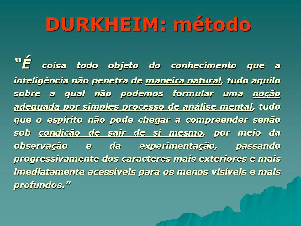 DURKHEIM: método