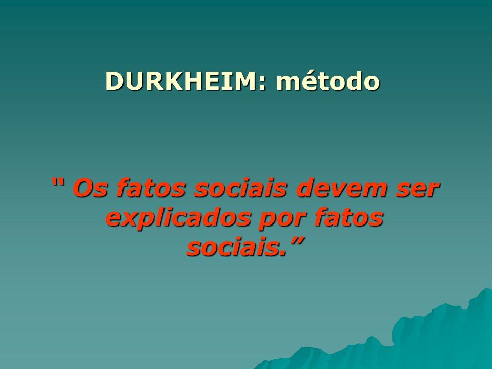 Os fatos sociais devem ser explicados por fatos sociais.