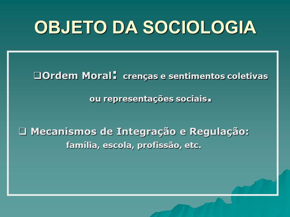Mecanismos de Integração e Regulação: família, escola, profissão, etc.