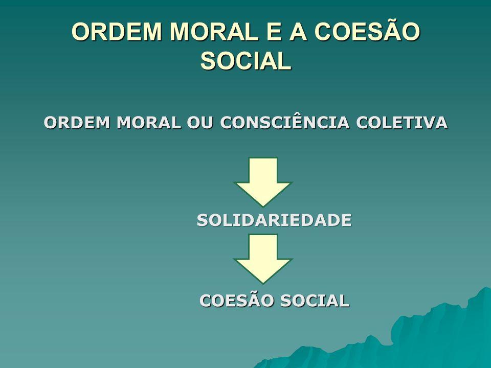 ORDEM MORAL E A COESÃO SOCIAL