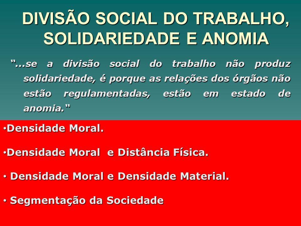 DIVISÃO SOCIAL DO TRABALHO, SOLIDARIEDADE E ANOMIA