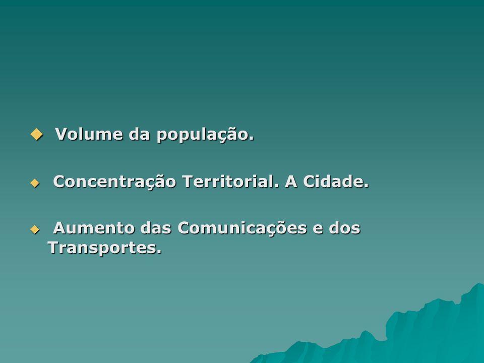 Volume da população. Concentração Territorial. A Cidade.