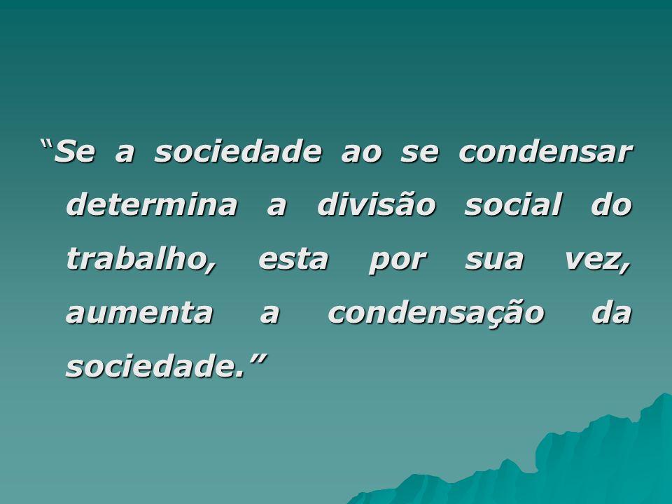 Se a sociedade ao se condensar determina a divisão social do trabalho, esta por sua vez, aumenta a condensação da sociedade.