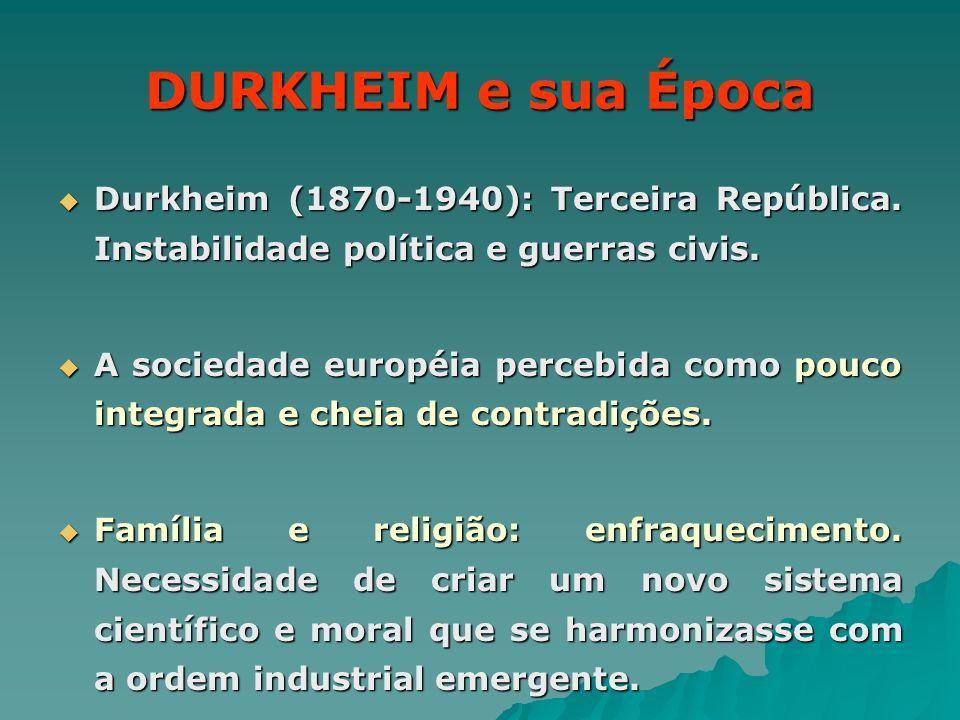 DURKHEIM e sua Época Durkheim (1870-1940): Terceira República. Instabilidade política e guerras civis.