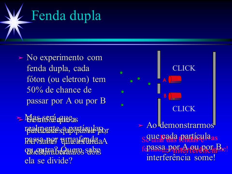 Fenda dupla No experimento com fenda dupla, cada fóton (ou eletron) tem 50% de chance de passar por A ou por B.