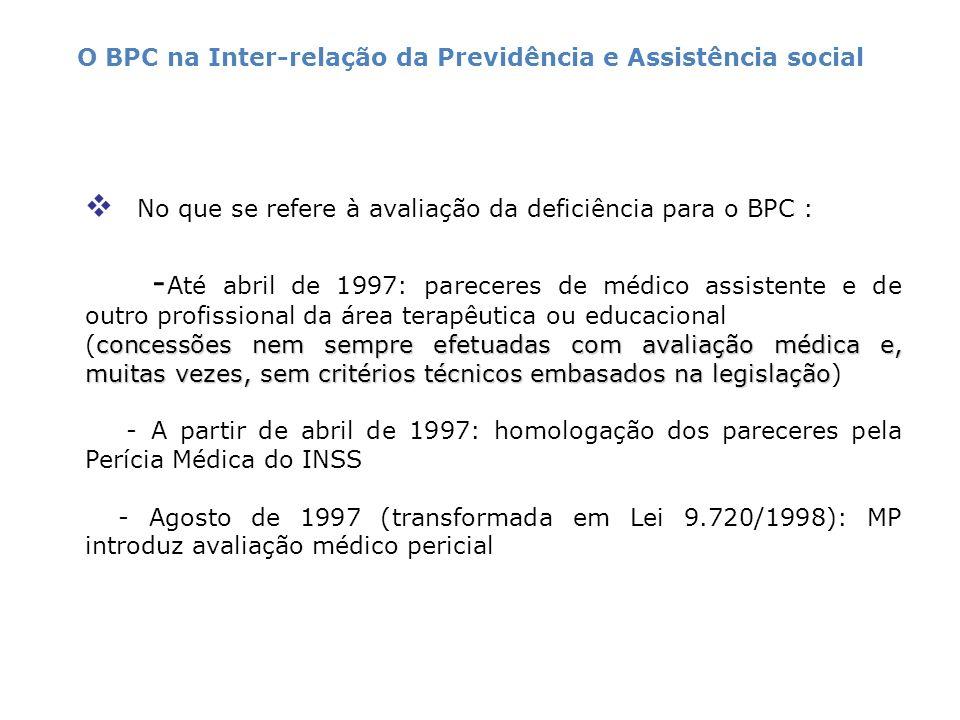 No que se refere à avaliação da deficiência para o BPC :