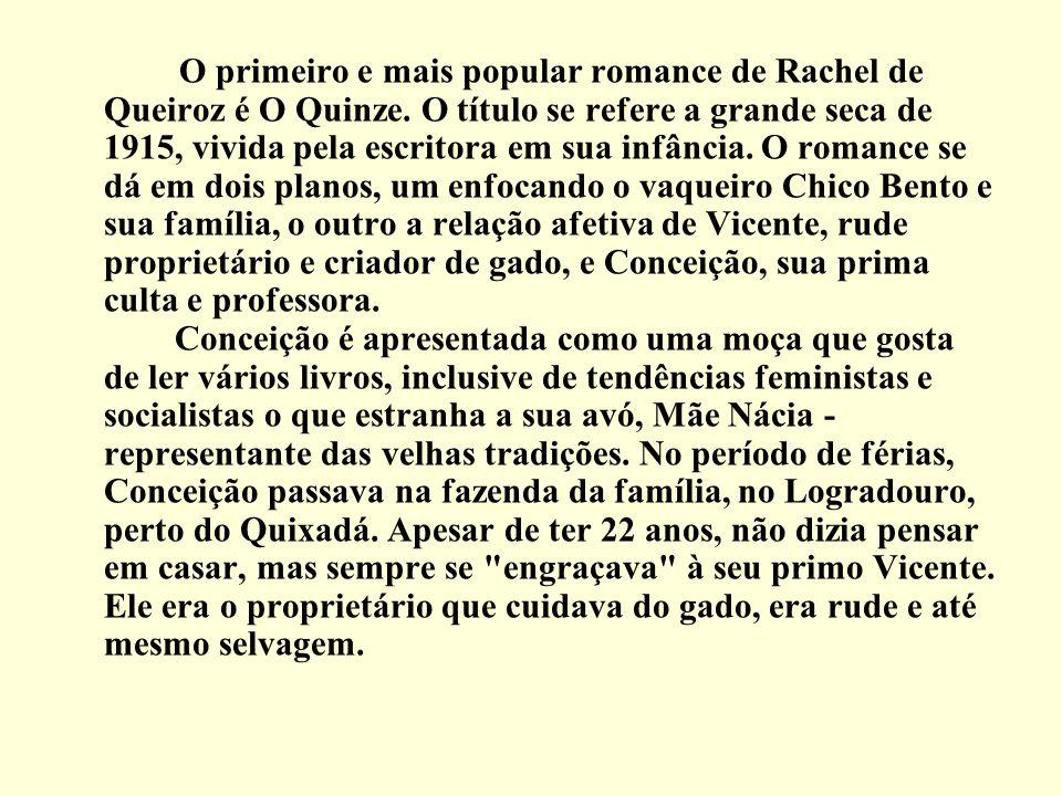 O primeiro e mais popular romance de Rachel de Queiroz é O Quinze