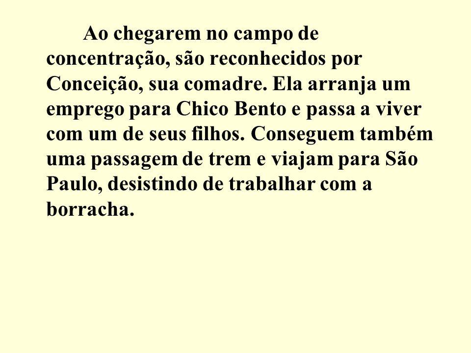 Ao chegarem no campo de concentração, são reconhecidos por Conceição, sua comadre.