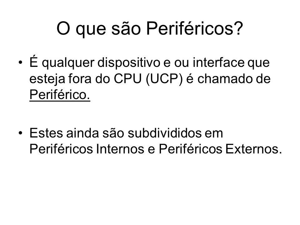 O que são Periféricos É qualquer dispositivo e ou interface que esteja fora do CPU (UCP) é chamado de Periférico.