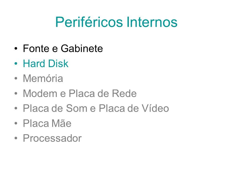 Periféricos Internos Fonte e Gabinete Hard Disk Memória