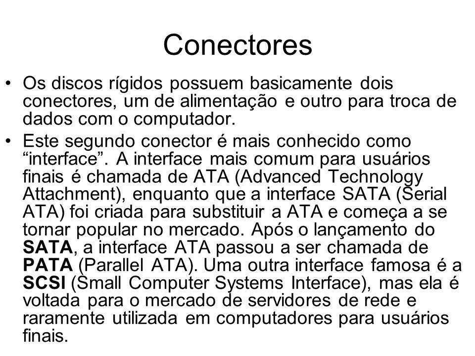 Conectores Os discos rígidos possuem basicamente dois conectores, um de alimentação e outro para troca de dados com o computador.