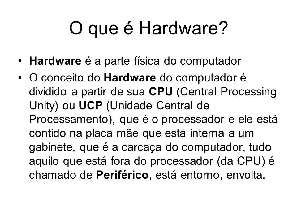 O que é Hardware Hardware é a parte física do computador