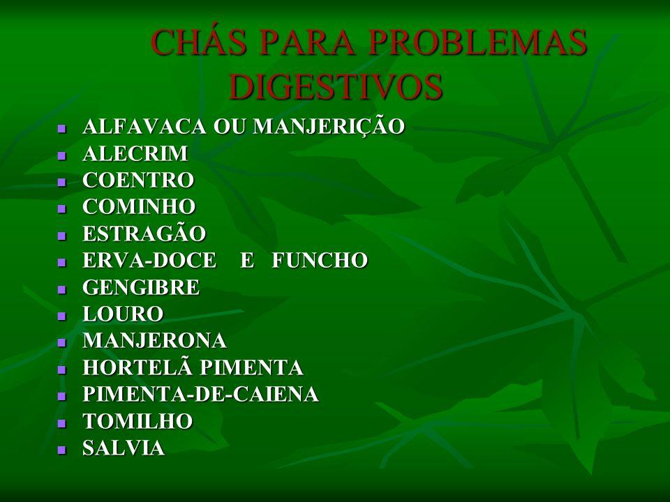 CHÁS PARA PROBLEMAS DIGESTIVOS