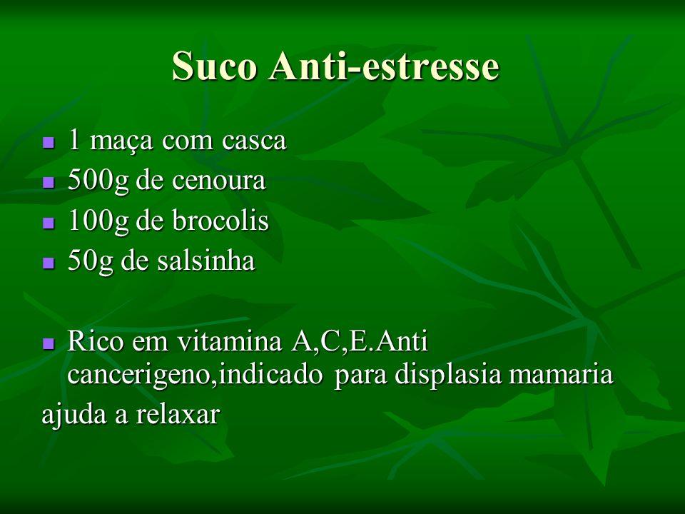 Suco Anti-estresse 1 maça com casca 500g de cenoura 100g de brocolis