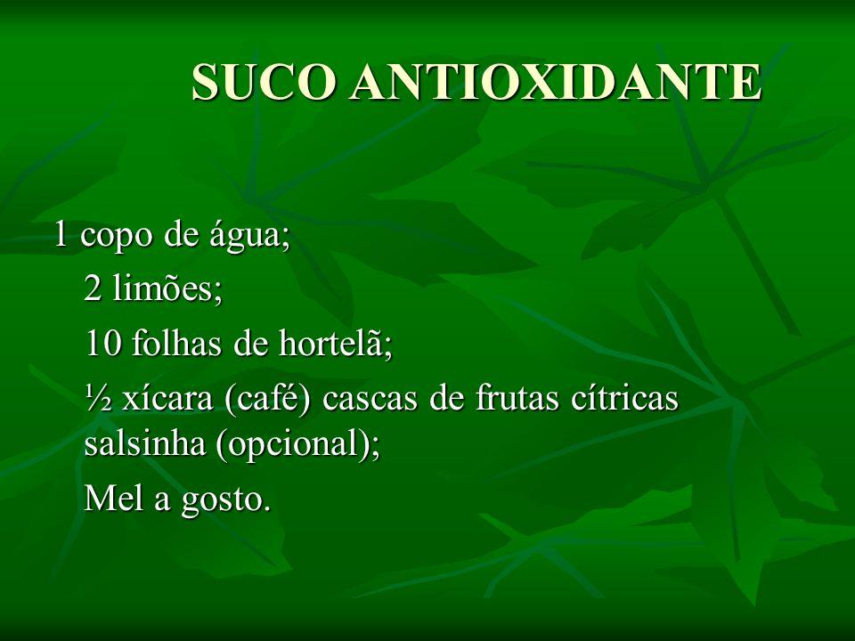 SUCO ANTIOXIDANTE 1 copo de água; 2 limões; 10 folhas de hortelã;