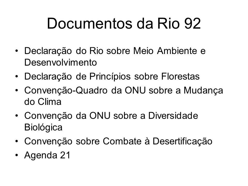 Documentos da Rio 92Declaração do Rio sobre Meio Ambiente e Desenvolvimento. Declaração de Princípios sobre Florestas.