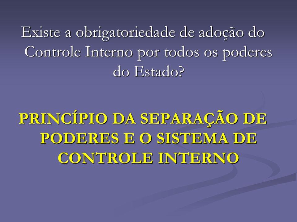 PRINCÍPIO DA SEPARAÇÃO DE PODERES E O SISTEMA DE CONTROLE INTERNO