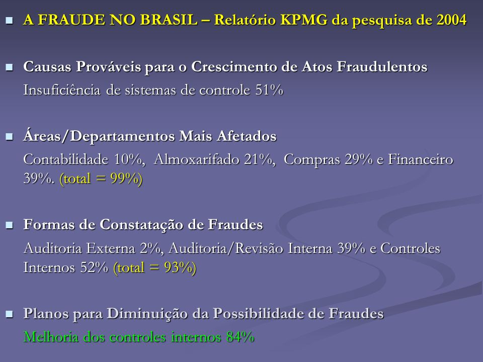 A FRAUDE NO BRASIL – Relatório KPMG da pesquisa de 2004
