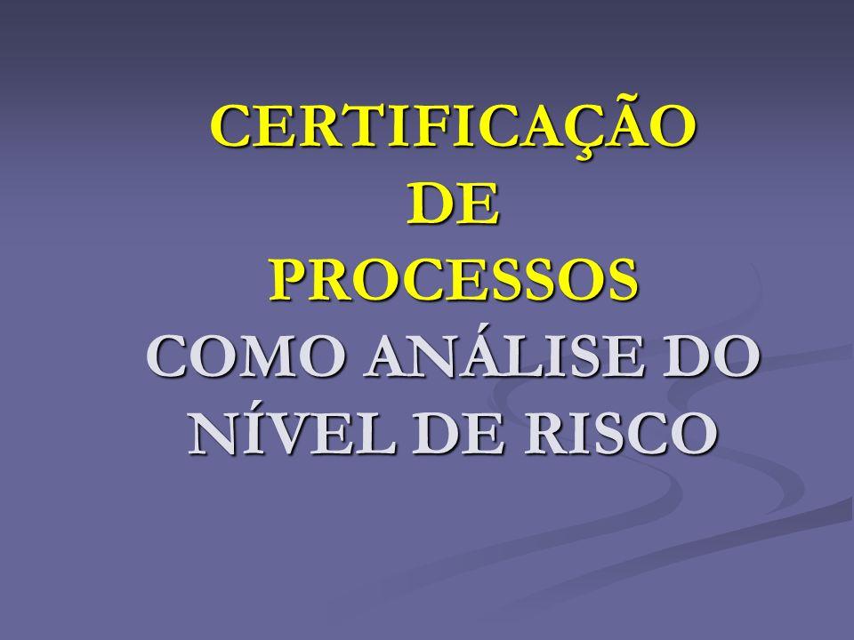 CERTIFICAÇÃO DE PROCESSOS COMO ANÁLISE DO NÍVEL DE RISCO