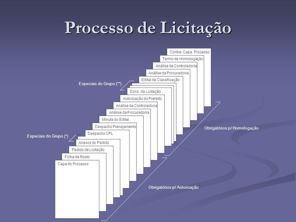 Processo de Licitação Especiais do Grupo (**)