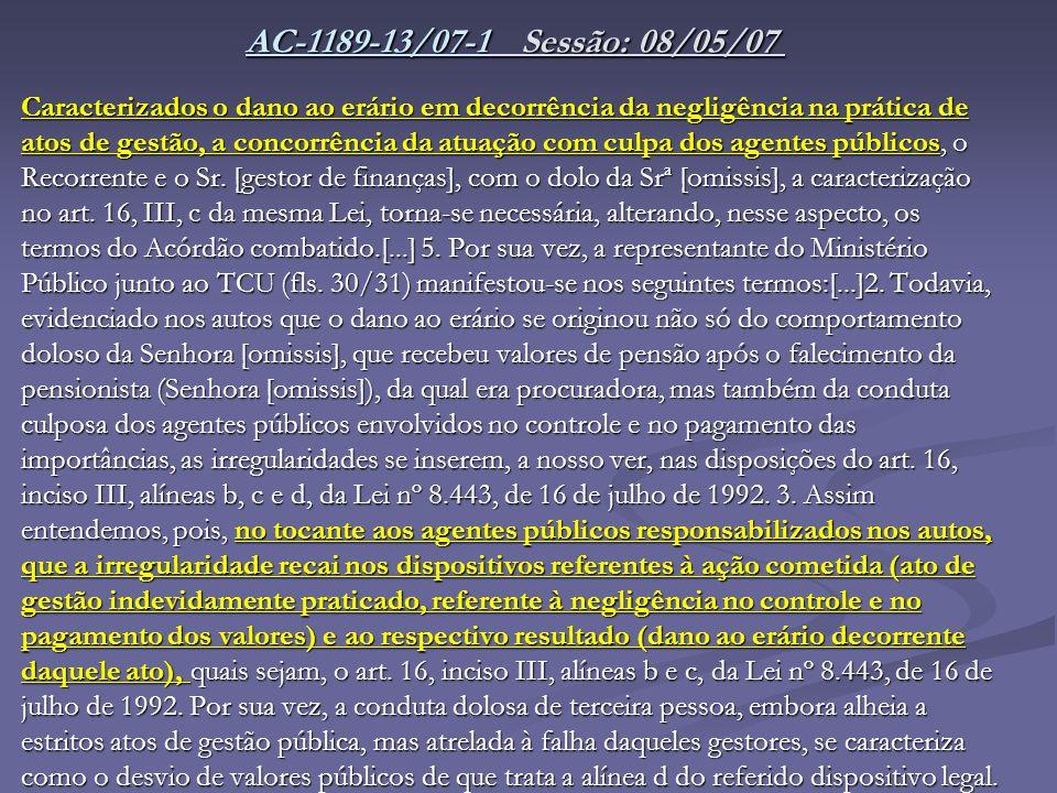 AC-1189-13/07-1 Sessão: 08/05/07