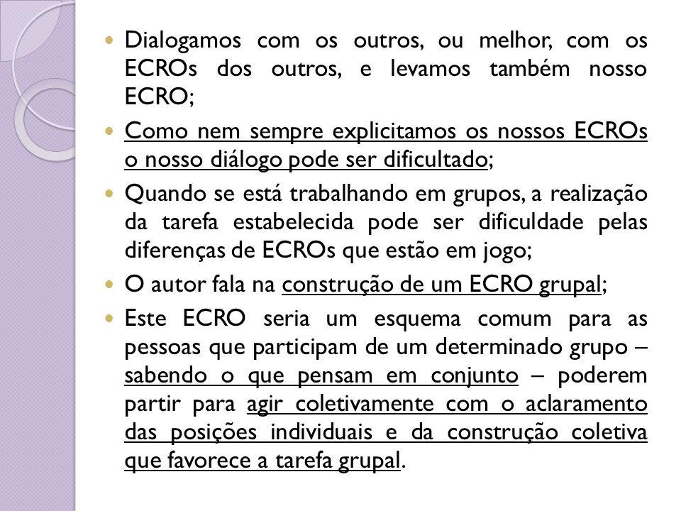 Dialogamos com os outros, ou melhor, com os ECROs dos outros, e levamos também nosso ECRO;