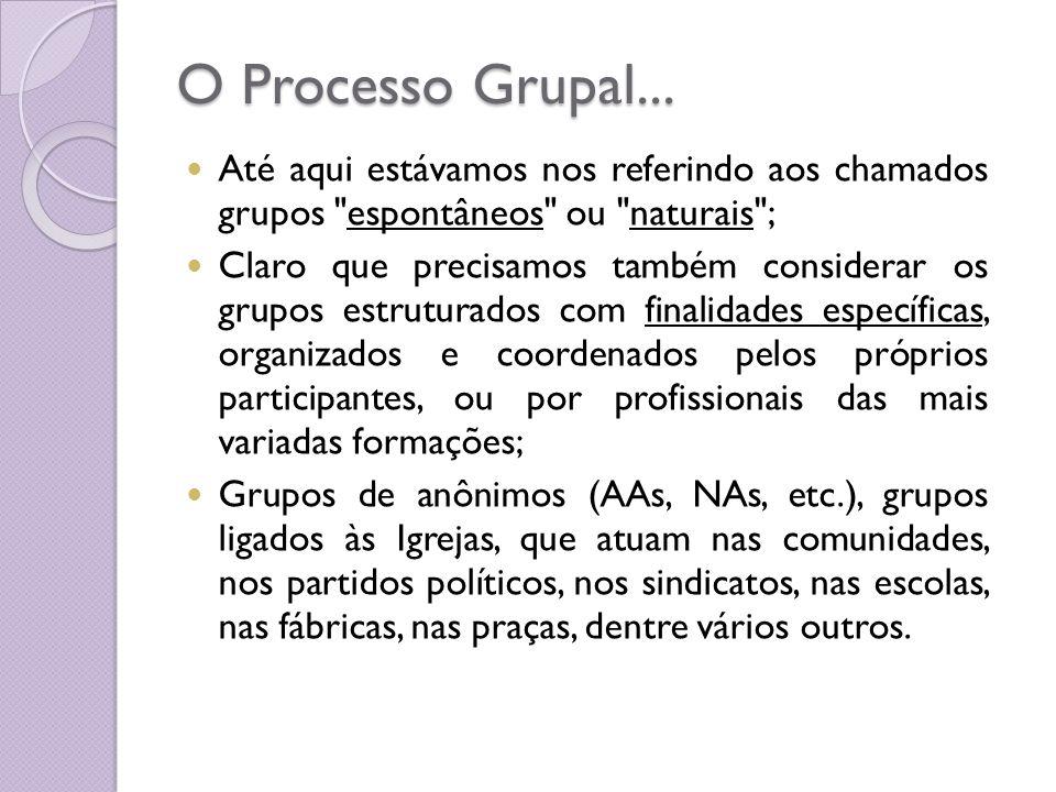 O Processo Grupal... Até aqui estávamos nos referindo aos chamados grupos espontâneos ou naturais ;