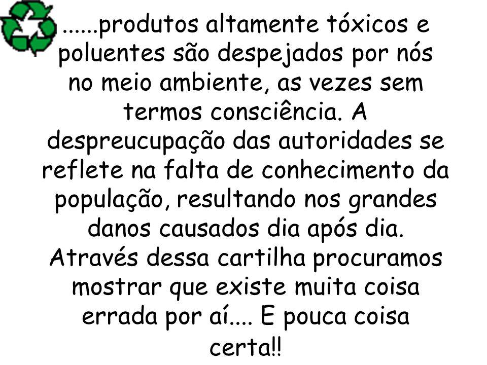 ......produtos altamente tóxicos e poluentes são despejados por nós no meio ambiente, as vezes sem termos consciência.
