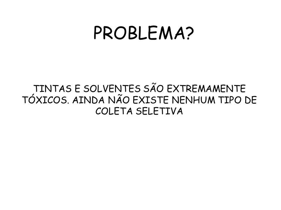 PROBLEMA. TINTAS E SOLVENTES SÃO EXTREMAMENTE TÓXICOS.