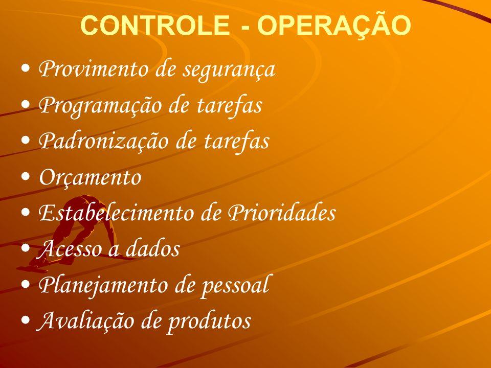 CONTROLE - OPERAÇÃO• Provimento de segurança. • Programação de tarefas. • Padronização de tarefas. • Orçamento.