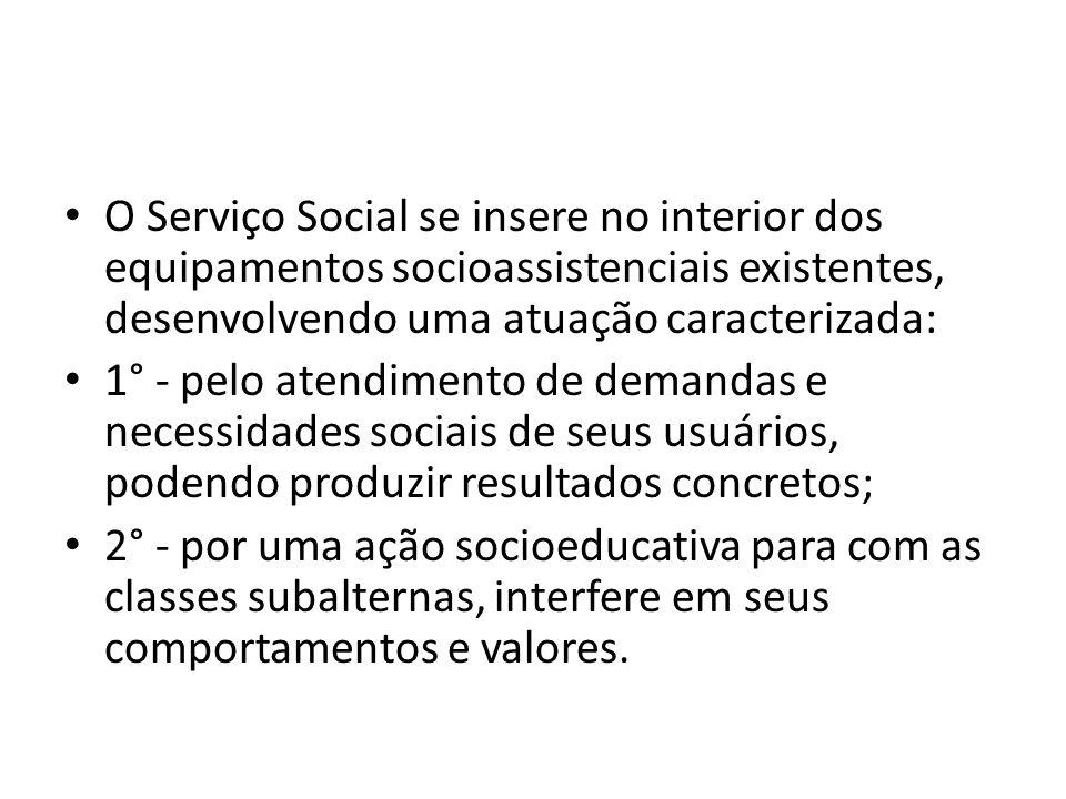 O Serviço Social se insere no interior dos equipamentos socioassistenciais existentes, desenvolvendo uma atuação caracterizada: