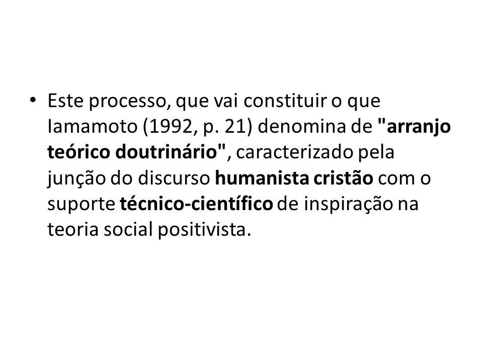 Este processo, que vai constituir o que Iamamoto (1992, p