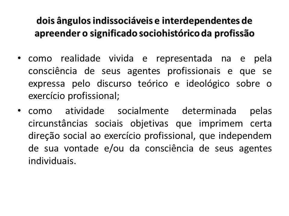dois ângulos indissociáveis e interdependentes de apreender o significado sociohistórico da profissão