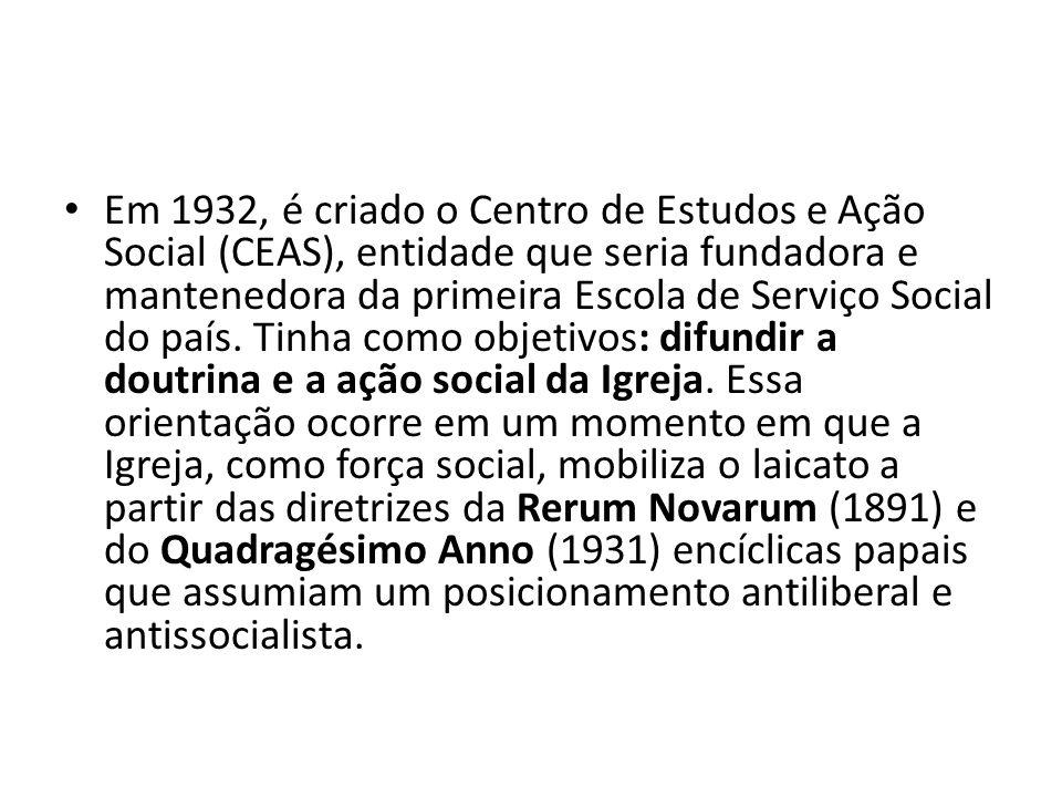 Em 1932, é criado o Centro de Estudos e Ação Social (CEAS), entidade que seria fundadora e mantenedora da primeira Escola de Serviço Social do país.