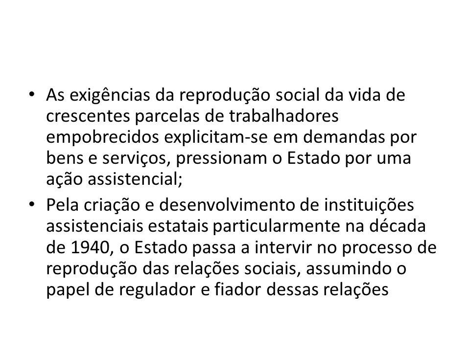 As exigências da reprodução social da vida de crescentes parcelas de trabalhadores empobrecidos explicitam-se em demandas por bens e serviços, pressionam o Estado por uma ação assistencial;
