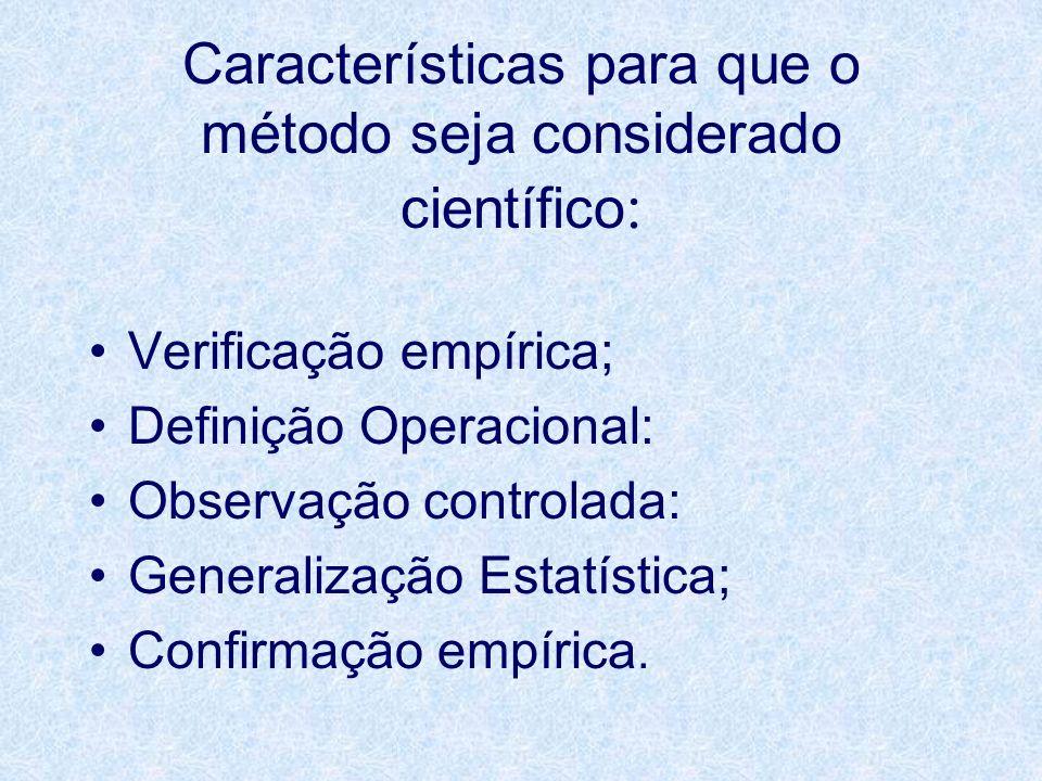 Características para que o método seja considerado científico:
