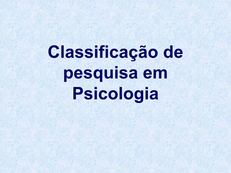 Classificação de pesquisa em Psicologia
