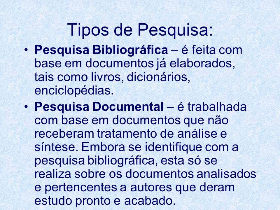 Tipos de Pesquisa: Pesquisa Bibliográfica – é feita com base em documentos já elaborados, tais como livros, dicionários, enciclopédias.