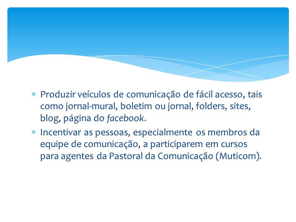 Produzir veículos de comunicação de fácil acesso, tais como jornal-mural, boletim ou jornal, folders, sites, blog, página do facebook.