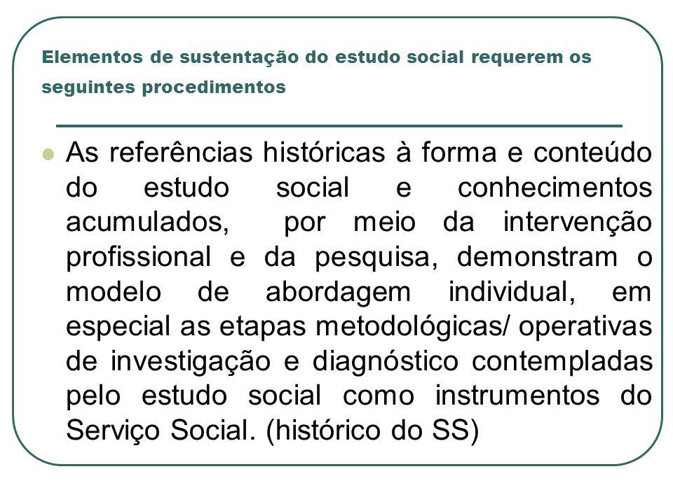Elementos de sustentação do estudo social requerem os seguintes procedimentos