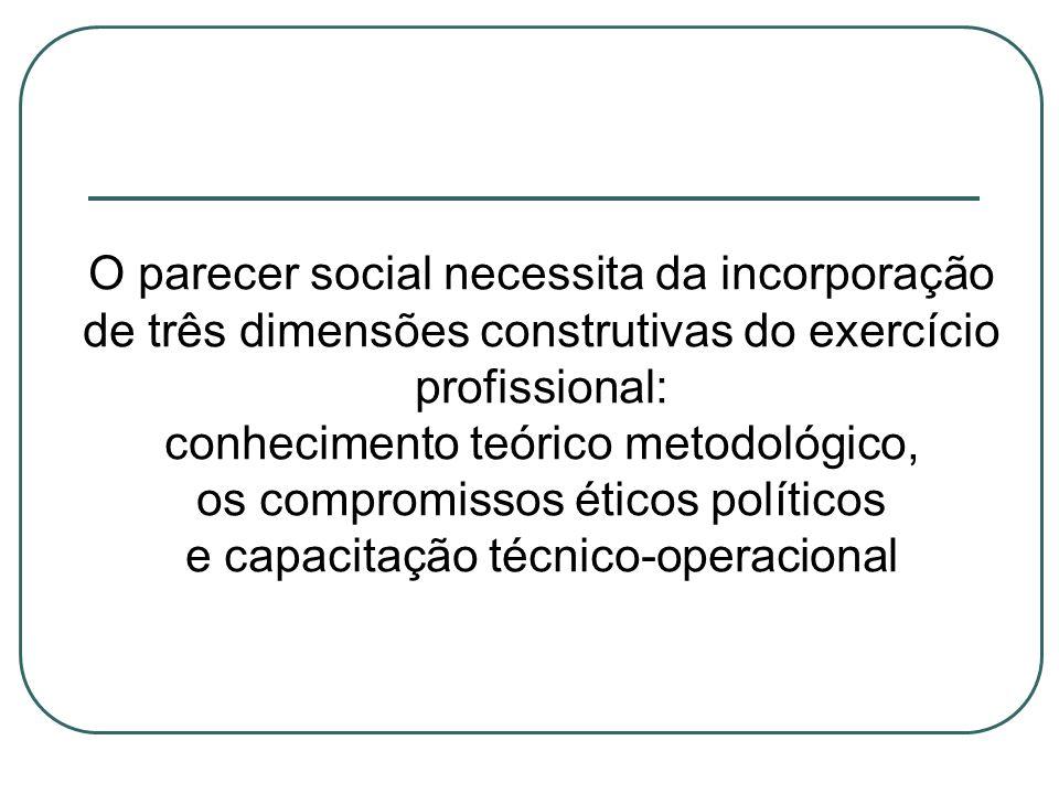 conhecimento teórico metodológico, os compromissos éticos políticos