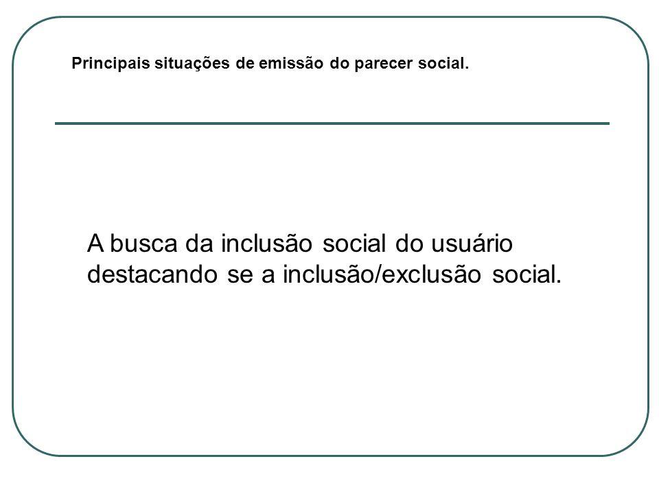 Principais situações de emissão do parecer social.